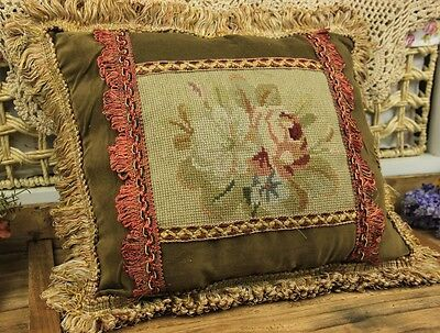 "15"" Vintage Design Decorative Sofa Chair Handmade Needlepoint Pillow Cushion"
