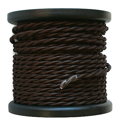 Brown Twisted Rayon Covered Wire, Antique Style Cloth Lamp Cord, Vintage Lights