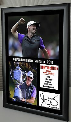 """Rory Mcilroy US PGA 2014 Golf  Framed Canvas Tribute Print Signed  """"Great Gift"""""""