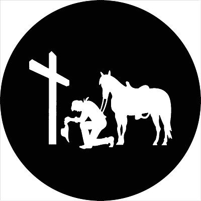 Cowboy #2 praying at cross Spare Tire Cover Jeep RV Camper(all sizes available)
