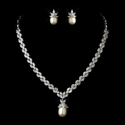 Antique Silver Ivory Drop Pearl CZ Prom Wedding Bridal Necklace Earring Set