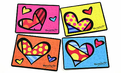 Romero Britto Set Of Four Hearts Placemats Retired  ** New **