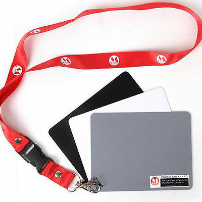 3in1 Photo Digital Black White Grey Color Balance Card 18% Gray Cards w/ Strap