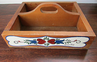 VIntage Wooden Garden Caddy Tool Storage Tray Hand Painted Arlene Camp