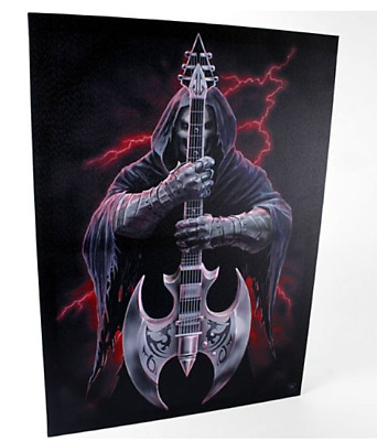 """The Rock Guitar Canvas Wall Plaque by Anne Stokes 10"""" x  7"""""""