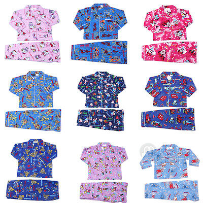 Girls Boys Kids Winter Long Sleeve Cotton Flannelett​e Pyjamas PJ Sleepwear Sz