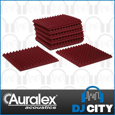 Auralex Acoustics Square Pyramid Studio Foam Panels Burgundy (12 Pack) for Ho...