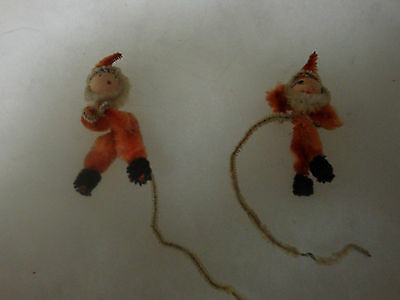 Two Old Antique Victorian Christmas Ornaments Beige Orange and Black Feet