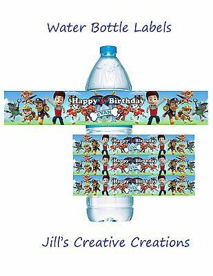 Paw Patrol Water Bottle labels, Paw Patrol, Party Supplies, Water Bottle Labels