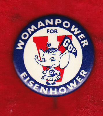"""Women For Eisenhower Classic 1 1/2"""" Campaign Pinback"""