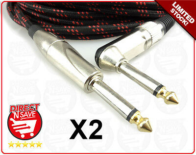"Braided Guitar Lead Instrument Cable 10M 6.35mm 1/4""Straight to Right Angle X 2"