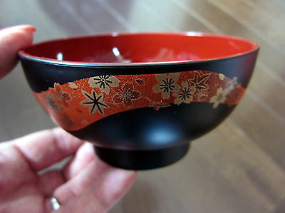 Japanese lacquer Bowl(s) /  Sakura Cherry Blossom Motif / Perfect for Miso