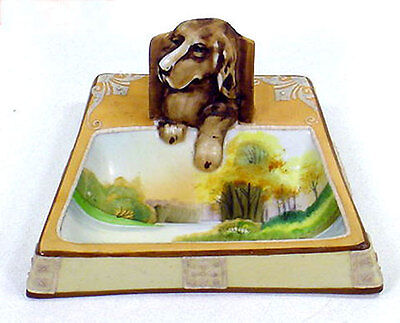 Nippon Moriage Blown Out Figural Dog Ashtray Match Holder Molded Relief