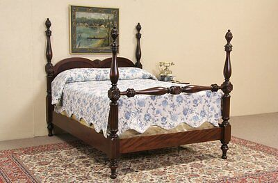 Poster Bed 1920 Antique Carved Mahogany Full Size