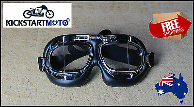 Chrome Red Baron Aviator Goggle Cafe Racer Motorcycle Goggles Retro Clubman