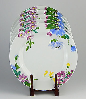 2 Dinner Plates, EXCELLENT! Imperial, Blue Yellow Pink Green Flowers Butterfly