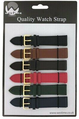 6 x Wholesale Job Lot Colour Leather watch straps 6mm to 24mm