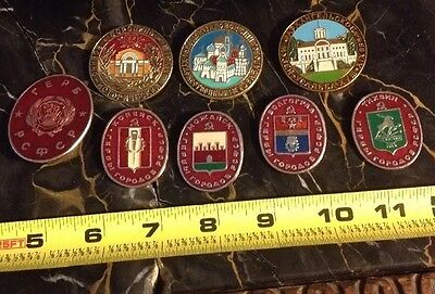 lot of 8 soviet Russian USSR badges medals pins Lapels Eastern European