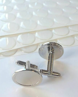 round or square Cuff link Blank with Resin Clear Domes - Customized Cuff link