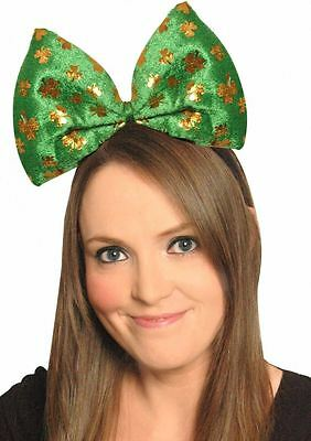 Printed Giant Bow on Headband Green St Patrick Day Irish Shamrock Fancy Dress