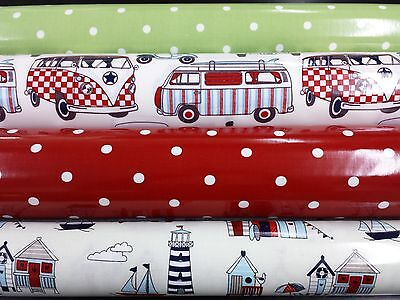 PVC Coated Wipeclean Tablecloth Table Covering Oil Cloth Vinyl Camper Vans Dotty
