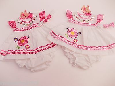 BNWT  baby girls pink  flower summer dress knickers & hairband 0-3  3-6  6-9 m