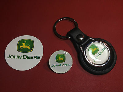 John Deere : Real Leather Key Ring,    Silver Plated Badge  +    Phone Sticker