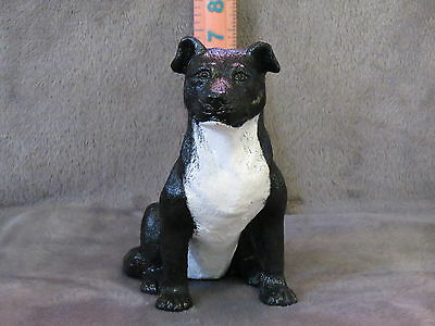 Staffordshire Bull Terrie Plaster Dog Statue Hand Cast And Painted By T.c.schoch