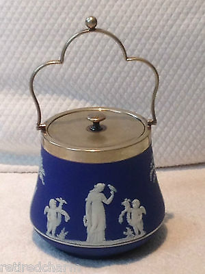 ❤WEDGWOOD VeRy OlD JASPERWARE BLUE DIP BISCUIT TEA BARREL JAR SILVER LID c 1891❤