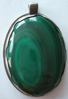 Bold Estate Sterling Silver Pendant Malachite Hand Made Artisan 28.1 Gr 2""