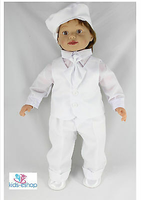 Baby Boy Outfit Smart Suit Bow Hat Waistcoat Wedding Christening White 0-18M