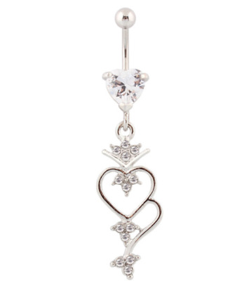 Clear Heart Belly Dangle Navel Ring Belly Bar Gem Crystal Surgical Steel UK Sell
