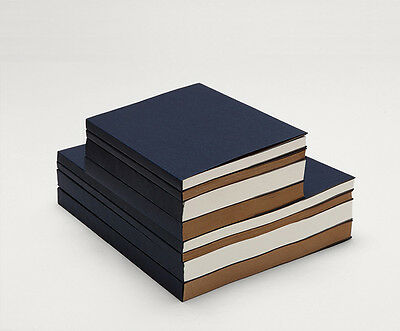 The BLUE Heavy Cover sketchbook sewing White/Kraft paper 60/120 sheets flat open