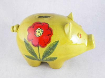 Vintage Piggy Bank Coin Bank Pig Italian Pottery Italy Hand Painted Daisy Flower