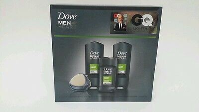 Dove Men Care 1- Deodorant  2-Body And Face Wash 1 shower Tool Gift Set, 4 pc