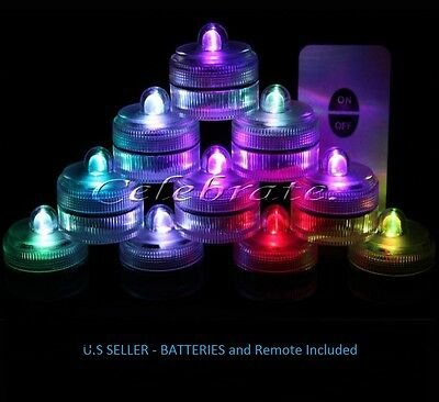 10 SUPER Bright White  LED Submersible Wedding Tower Vase Tea Light with/REMOTE