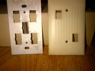 Ivory (Bakelite?) antique switch plate, double switch/opening, c/w mtg plate