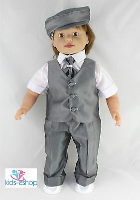 Baby Boy Grey Outfit Smart Suit Bow Hat Waistcoat Wedding Christening Summer