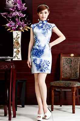 Short sleeve Oriental Cheongsam Cheong-Sam Qipao Dress white with blue flowers