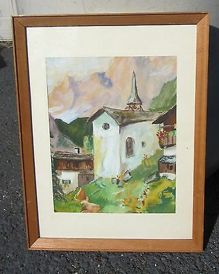 BEAUTIFUL ANTIQUE SIGNED EUROPEAN SWISS? / GERMAN? WATERCOLOR PAINTING ALPS?