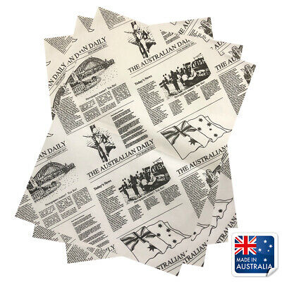 Greaseproof Paper Newsprint Style 310x380mm Pkt 200 Newspaper Fish Chips Burgers