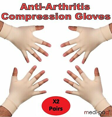 MEDIPAQ™ 2x Pairs Anti-Arthritis Health Therapy Gloves - Compression Hand Pain