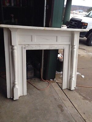 M 19 Antique Pine Fireplace Mantel With Carvings