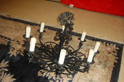 "Vintage Original Black Wrought Iron & Chain 8 Light Dining Room 31"" Chandelier"