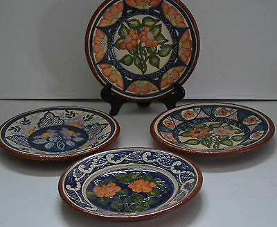 Olaria Jose Cartaxo -S.p.corval Hand Painted Terracotta  Plates -Set Of 4 Signed