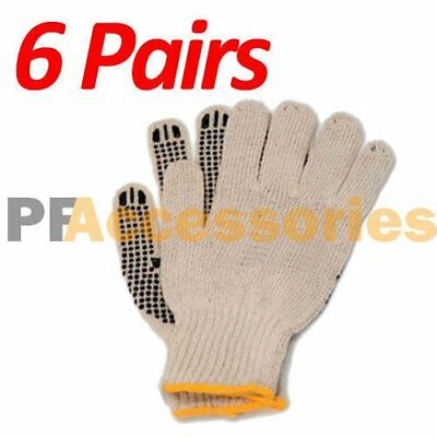 6 Pairs Cotton PVC Dots String Knit Work Gloves Size L for Industrial Warehouse