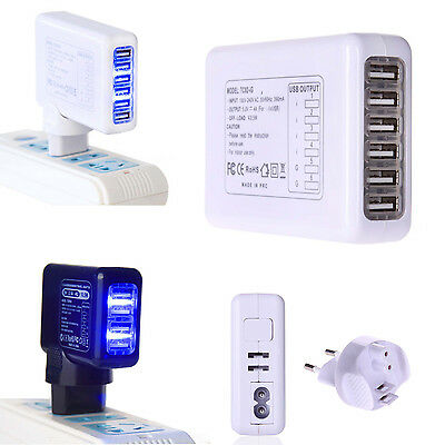 4/5/6 Ports USB Home Wall Travel AC Charger Worldwide LED Power Adapter US / EU