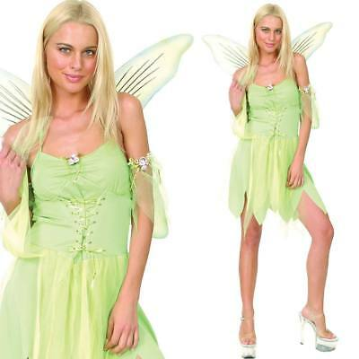 Ladies Green Fairy Fancy Dress Costume - Womens Fantasy Fairytale Film Outfit