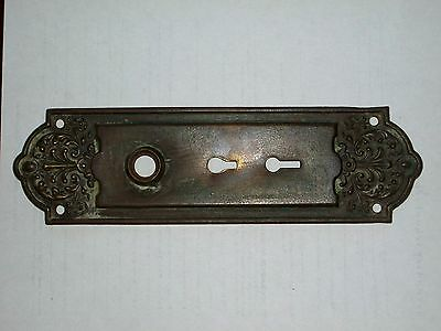 "Antique Victorian Era Entry Doorknob Backplate 10"" x 2 13/16"""