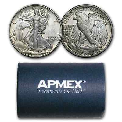 90% Silver Walking Liberty Halves $10 20-Coin Roll AU - SKU #43926